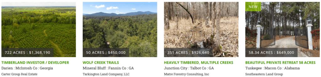Forêts à vendre aux Etats-Unis